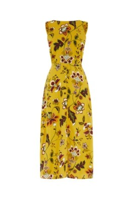 Warehouse Yellow Midi Dress